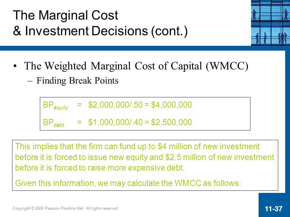 Copyright © 2009 Pearson Prentice Hall. All rights reserved. 11-37 The Marginal Cost & Investment Decisions (cont.) The Weighted Marginal Cost of Capi