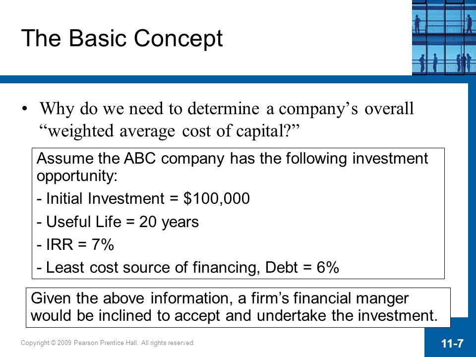 Copyright © 2009 Pearson Prentice Hall. All rights reserved. 11-7 Assume the ABC company has the following investment opportunity: - Initial Investmen