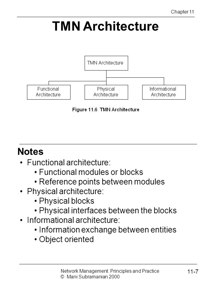 Notes TMN Architecture Functional architecture: Functional modules or blocks Reference points between modules Physical architecture: Physical blocks Physical interfaces between the blocks Informational architecture: Information exchange between entities Object oriented Chapter 11 Network Management: Principles and Practice © Mani Subramanian 2000 11-7