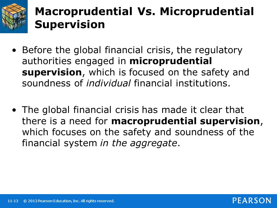 © 2013 Pearson Education, Inc. All rights reserved.11-13 Macroprudential Vs. Microprudential Supervision Before the global financial crisis, the regul