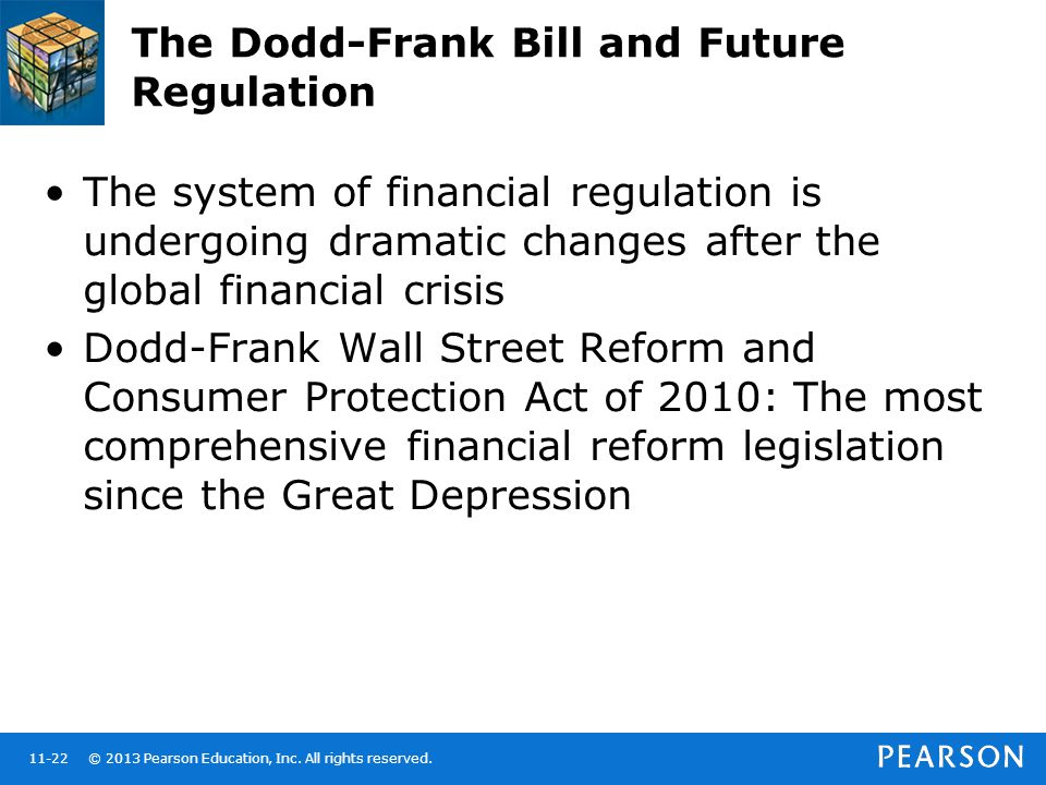© 2013 Pearson Education, Inc. All rights reserved.11-22 The Dodd-Frank Bill and Future Regulation The system of financial regulation is undergoing dr