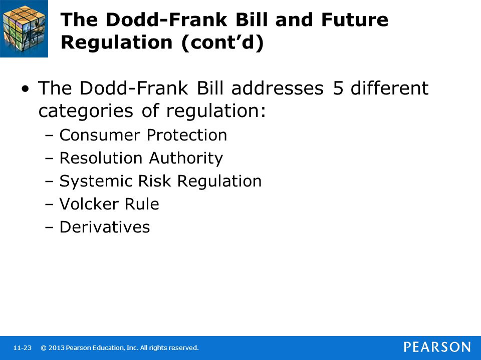 © 2013 Pearson Education, Inc. All rights reserved.11-23 The Dodd-Frank Bill and Future Regulation (cont'd) The Dodd-Frank Bill addresses 5 different