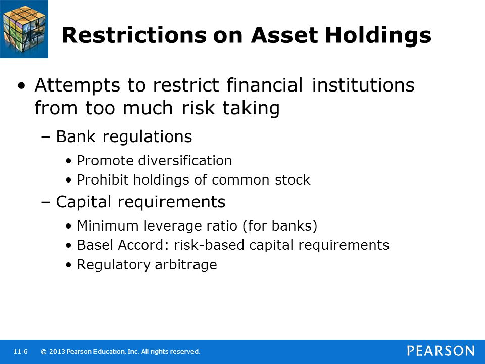 © 2013 Pearson Education, Inc. All rights reserved.11-6 Restrictions on Asset Holdings Attempts to restrict financial institutions from too much risk