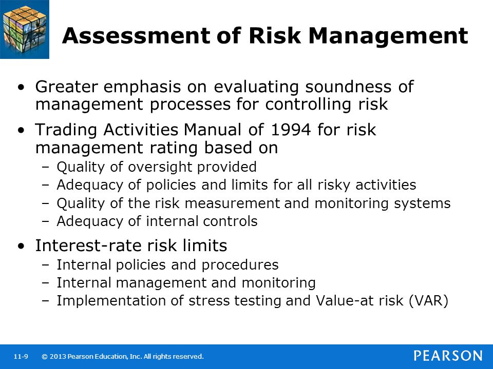 © 2013 Pearson Education, Inc. All rights reserved.11-9 Assessment of Risk Management Greater emphasis on evaluating soundness of management processes