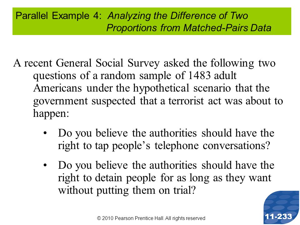 © 2010 Pearson Prentice Hall. All rights reserved 11-233 A recent General Social Survey asked the following two questions of a random sample of 1483 a
