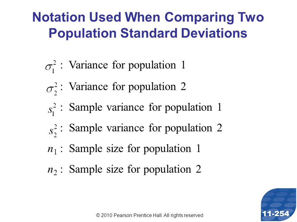 © 2010 Pearson Prentice Hall. All rights reserved 11-254 Notation Used When Comparing Two Population Standard Deviations : Variance for population 1 :