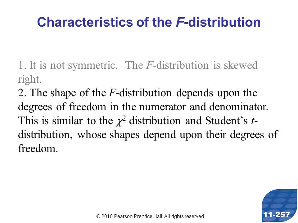 © 2010 Pearson Prentice Hall. All rights reserved 11-257 Characteristics of the F-distribution 1.