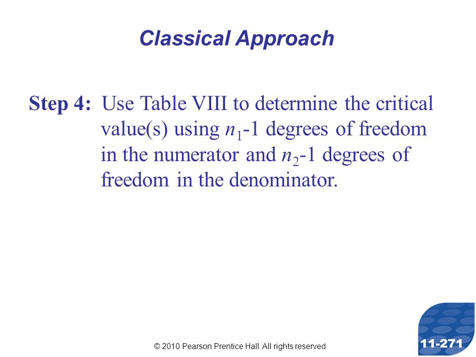 © 2010 Pearson Prentice Hall. All rights reserved 11-271 Step 4: Use Table VIII to determine the critical value(s) using n 1 -1 degrees of freedom in