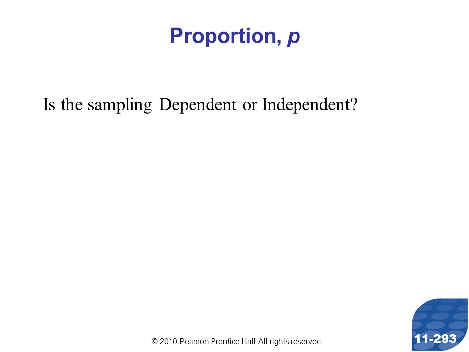 © 2010 Pearson Prentice Hall. All rights reserved 11-293 Proportion, p Is the sampling Dependent or Independent?