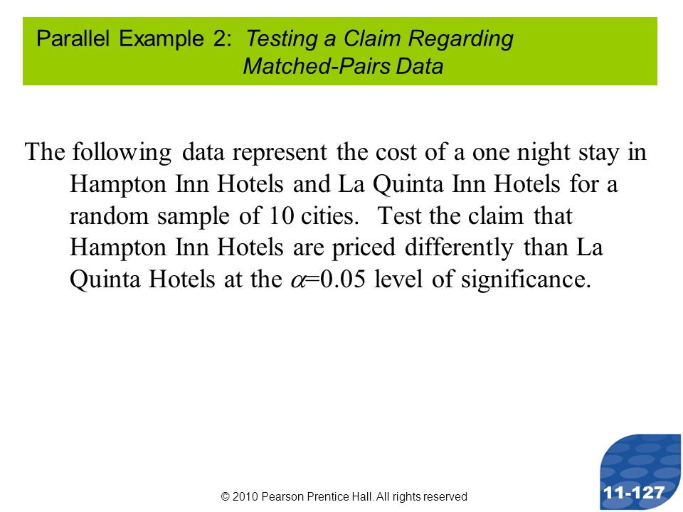 © 2010 Pearson Prentice Hall. All rights reserved 11-127 The following data represent the cost of a one night stay in Hampton Inn Hotels and La Quinta