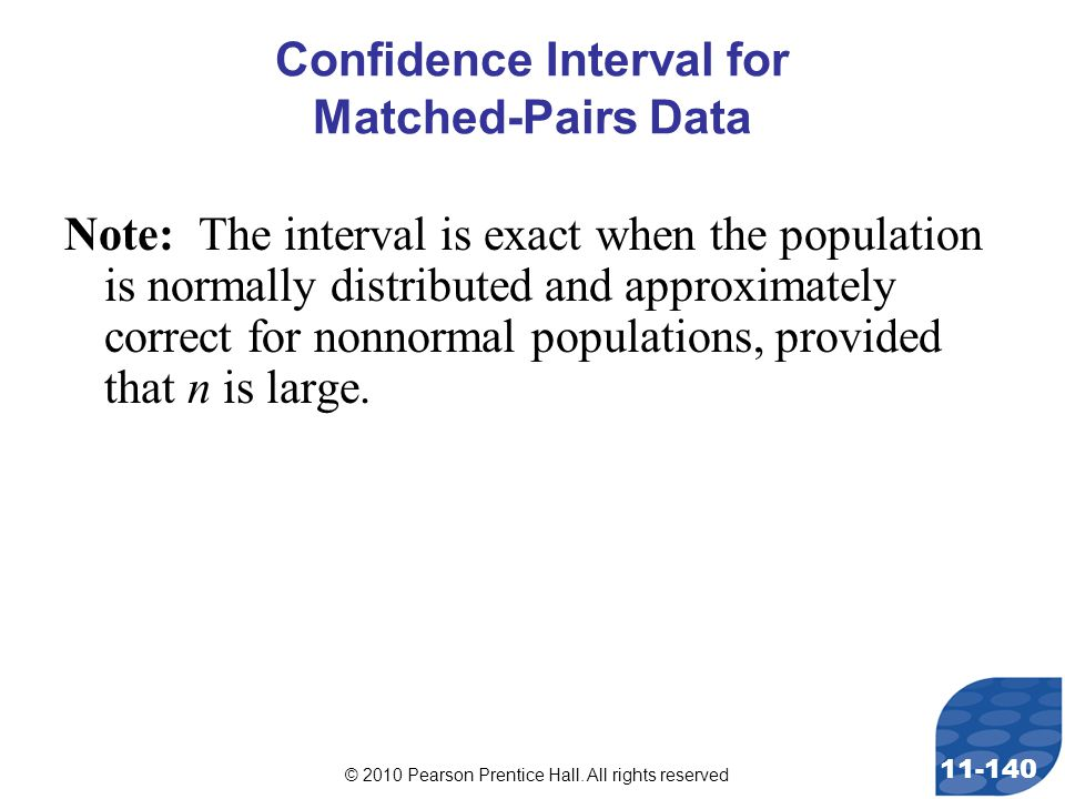 © 2010 Pearson Prentice Hall. All rights reserved 11-140 Note: The interval is exact when the population is normally distributed and approximately cor