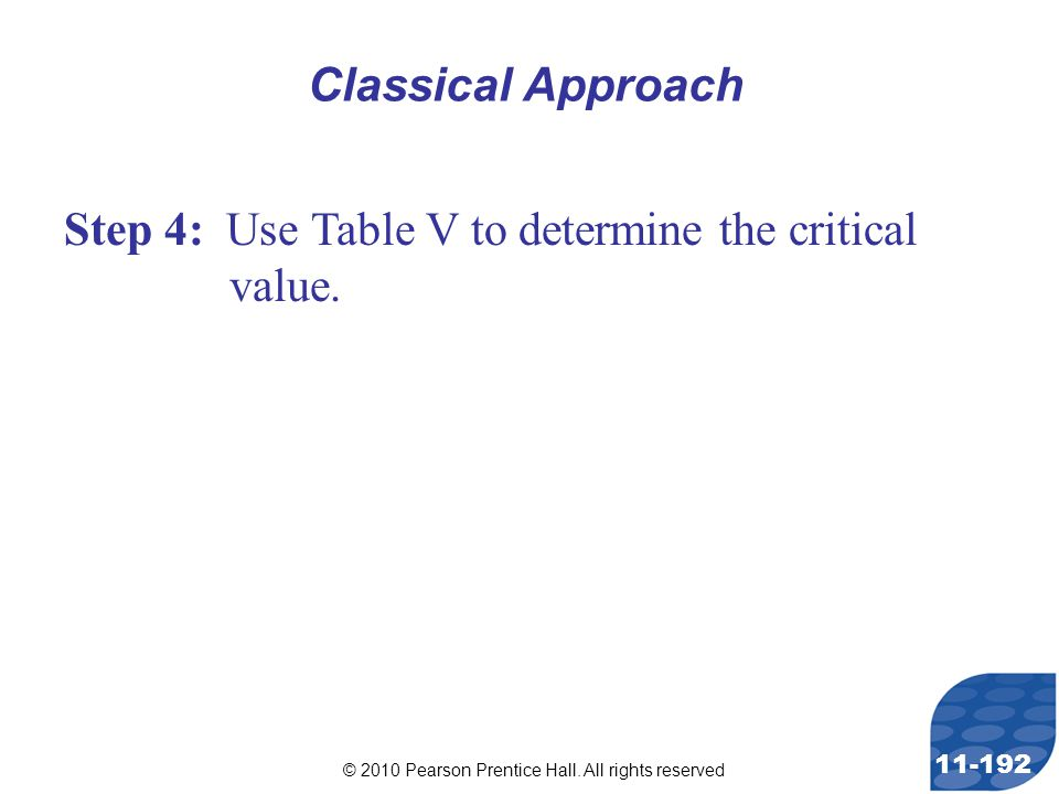 © 2010 Pearson Prentice Hall. All rights reserved 11-192 Step 4: Use Table V to determine the critical value. Classical Approach