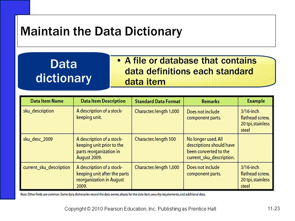 A file or database that contains data definitions each standard data item Data dictionary Maintain the Data Dictionary Copyright © 2010 Pearson Educat
