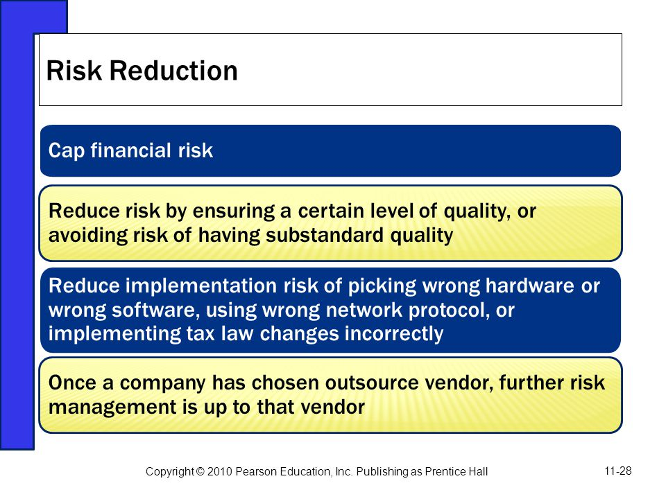 Cap financial risk Reduce risk by ensuring a certain level of quality, or avoiding risk of having substandard quality Reduce implementation risk of pi