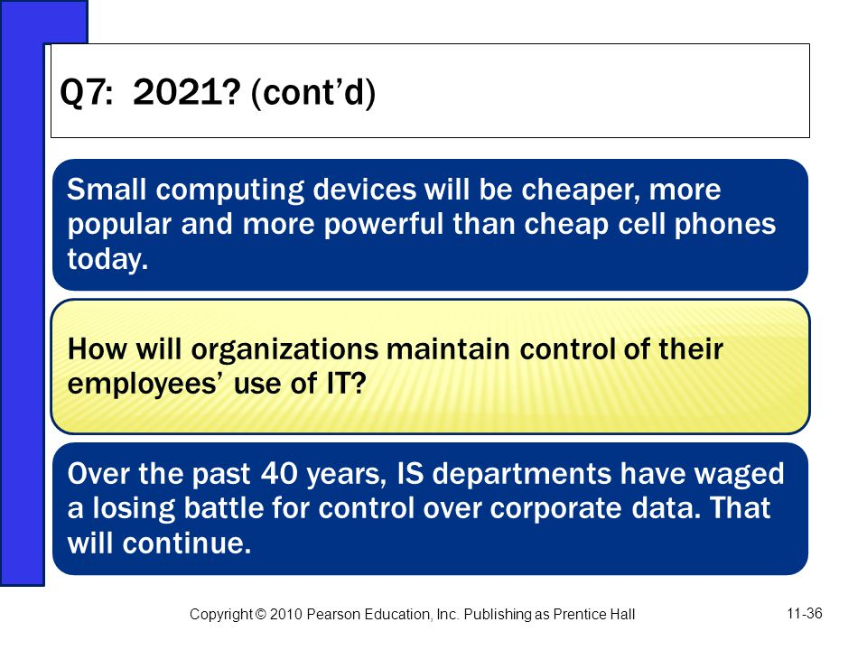Small computing devices will be cheaper, more popular and more powerful than cheap cell phones today. How will organizations maintain control of their