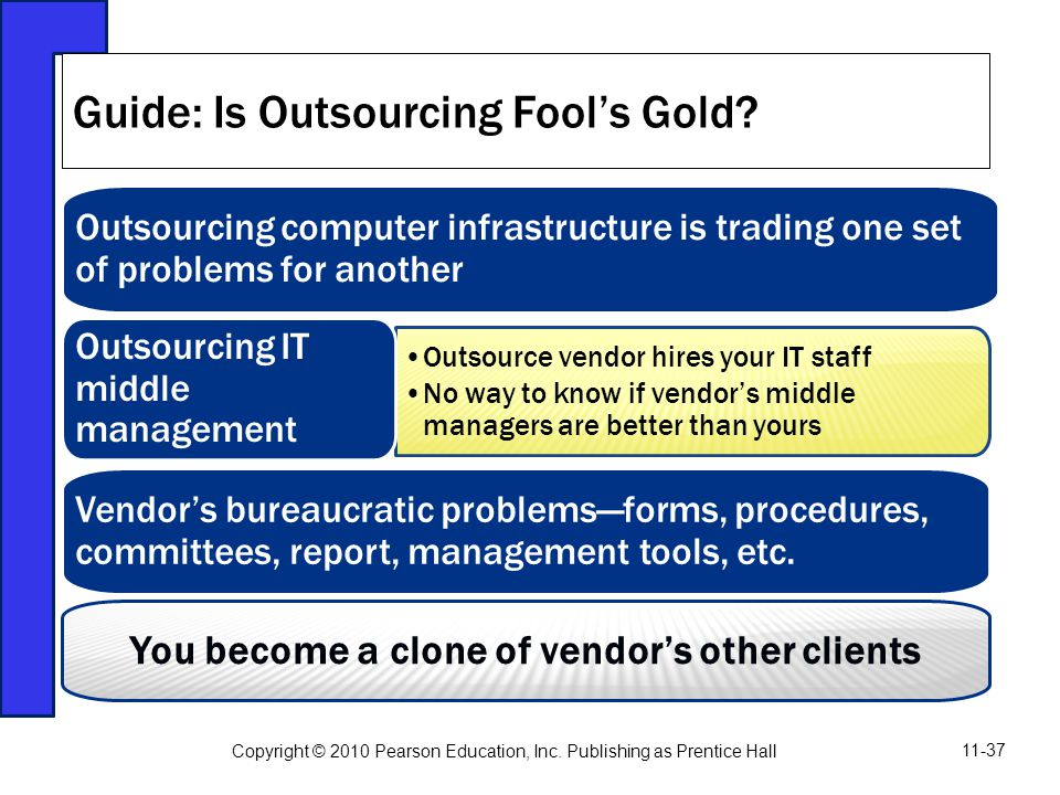 Outsourcing computer infrastructure is trading one set of problems for another Outsource vendor hires your IT staff No way to know if vendor's middle