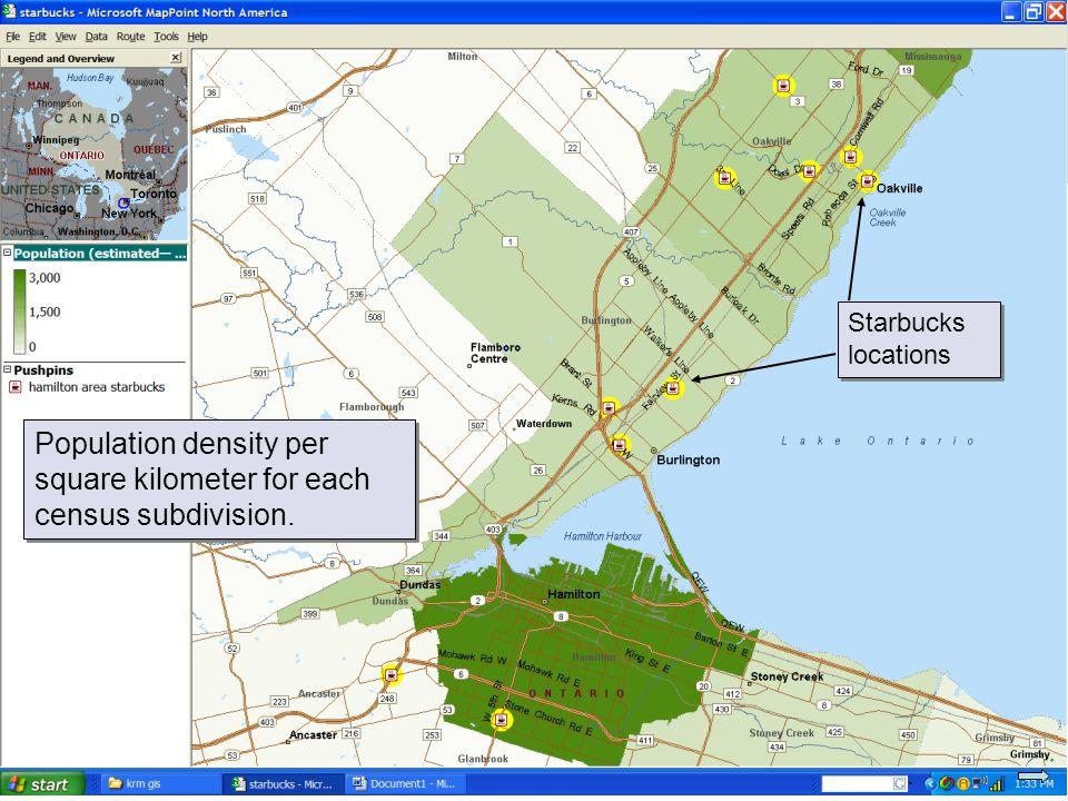 © 2007 Pearson Education Population density per square kilometer for each census subdivision.