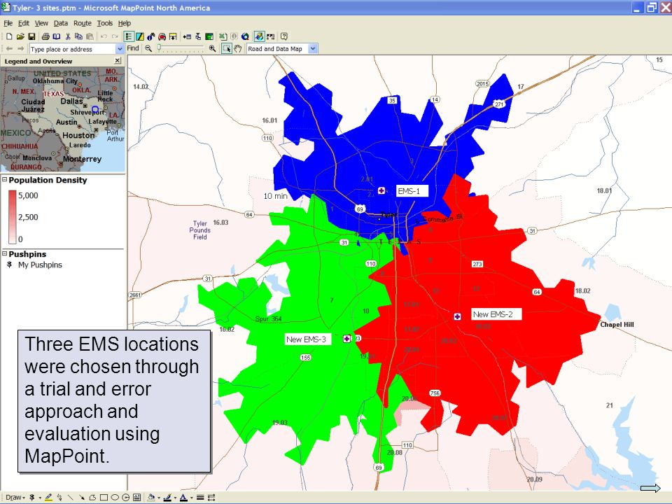 © 2007 Pearson Education Three EMS locations were chosen through a trial and error approach and evaluation using MapPoint.