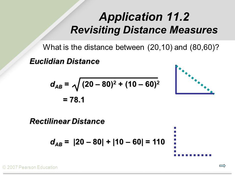 © 2007 Pearson Education Application 11.2 Revisiting Distance Measures Rectilinear Distance d AB = |20 – 80| + |10 – 60| = 110 Euclidian Distance d AB = (20 – 80) 2 + (10 – 60) 2 = 78.1 = 78.1 What is the distance between (20,10) and (80,60)?