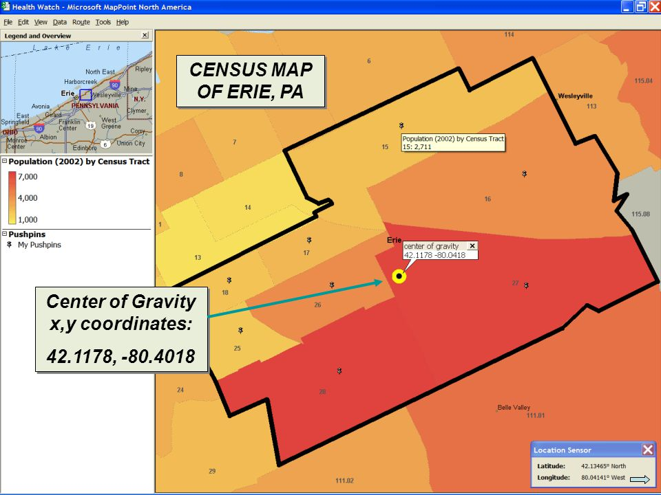 © 2007 Pearson Education CENSUS MAP OF ERIE, PA Center of Gravity x,y coordinates: 42.1178, -80.4018 Center of Gravity x,y coordinates: 42.1178, -80.4