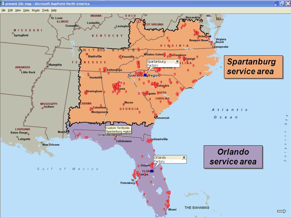 © 2007 Pearson Education Spartanburg service area Orlando service area