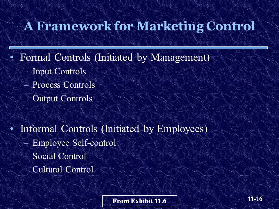 11-16 A Framework for Marketing Control Formal Controls (Initiated by Management) –Input Controls –Process Controls –Output Controls Informal Controls