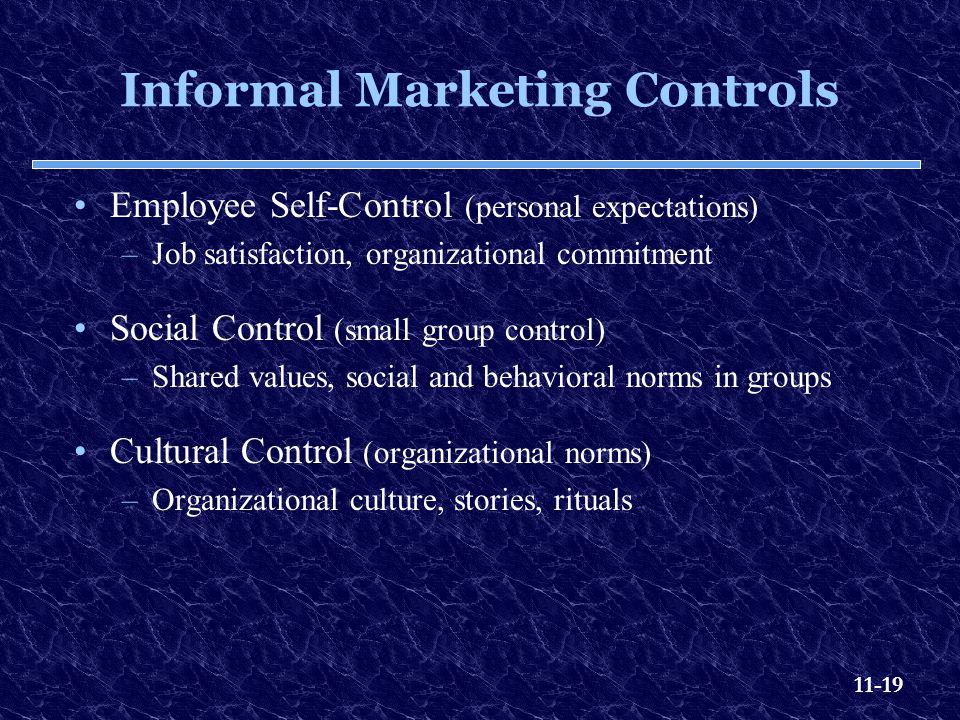11-19 Informal Marketing Controls Employee Self-Control (personal expectations) –Job satisfaction, organizational commitment Social Control (small gro