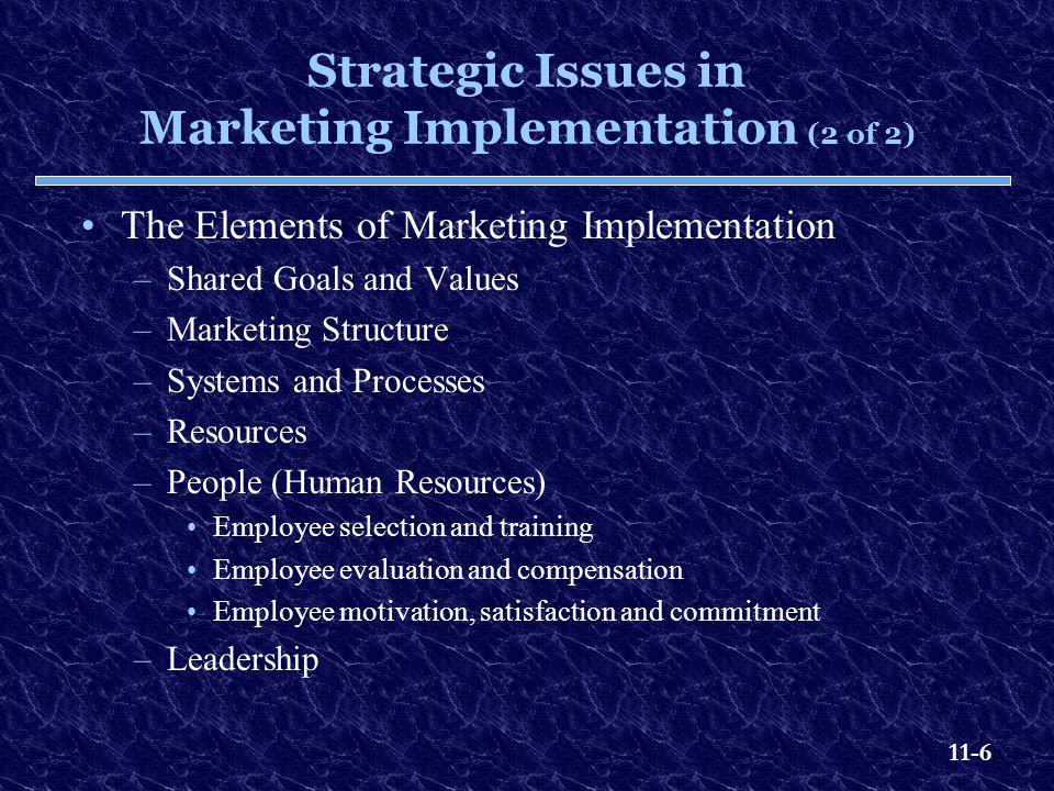 11-7 The Elements of Marketing Implementation Exhibit 11.3