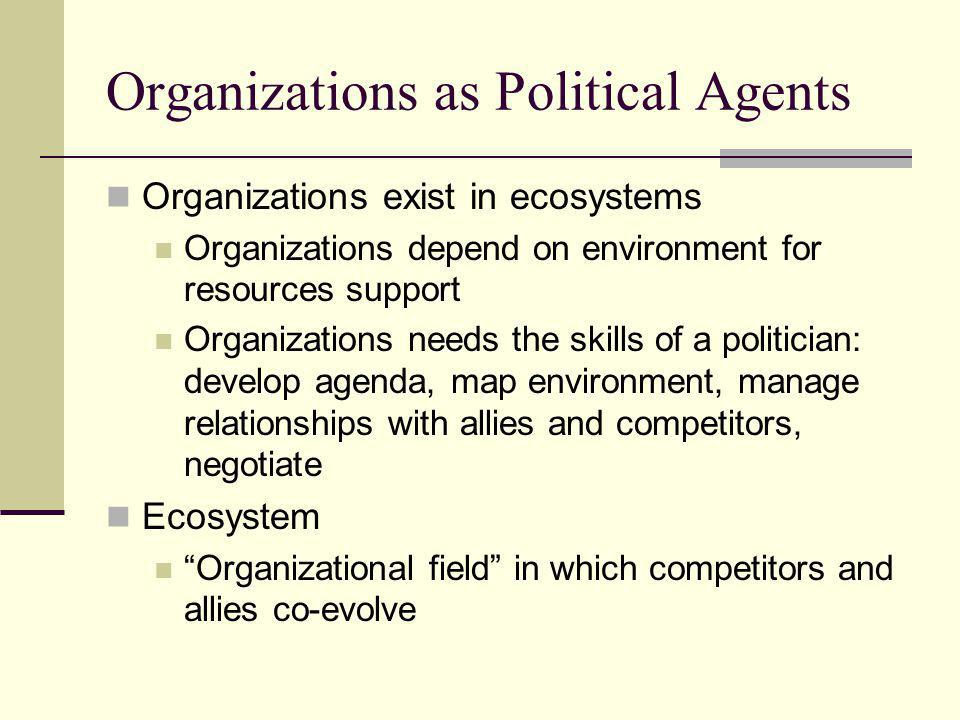 Organizations as Political Agents Organizations exist in ecosystems Organizations depend on environment for resources support Organizations needs the skills of a politician: develop agenda, map environment, manage relationships with allies and competitors, negotiate Ecosystem Organizational field in which competitors and allies co-evolve
