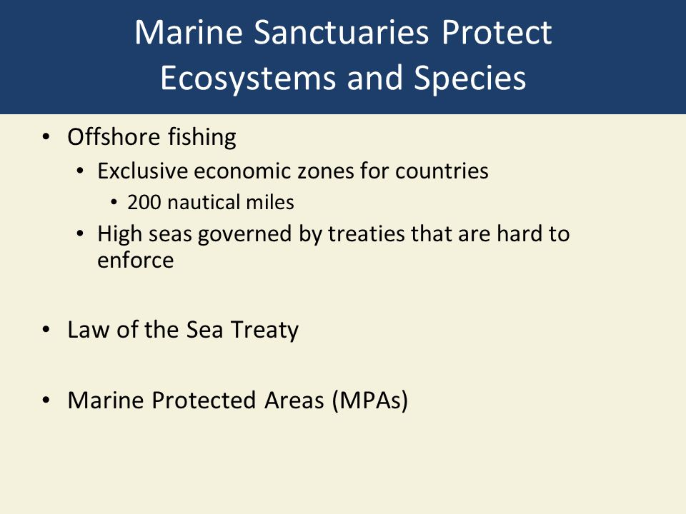 Marine Sanctuaries Protect Ecosystems and Species Offshore fishing Exclusive economic zones for countries 200 nautical miles High seas governed by tre