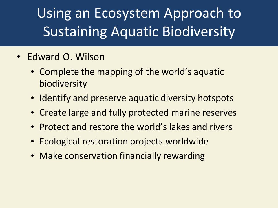 Using an Ecosystem Approach to Sustaining Aquatic Biodiversity Edward O. Wilson Complete the mapping of the world's aquatic biodiversity Identify and