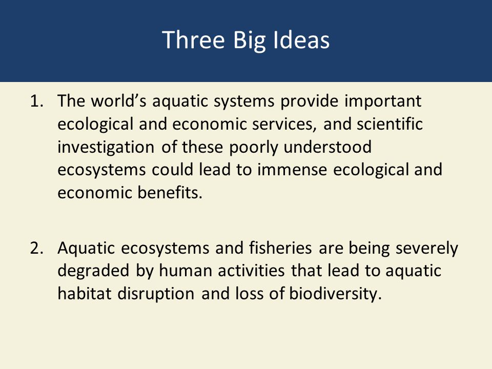 Three Big Ideas 1.The world's aquatic systems provide important ecological and economic services, and scientific investigation of these poorly underst