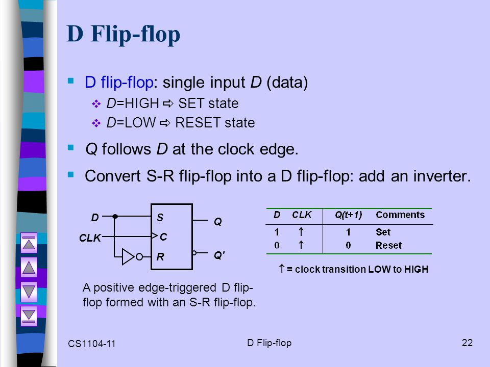 CS1104-11 D Flip-flop22 D Flip-flop  D flip-flop: single input D (data)  D=HIGH  SET state  D=LOW  RESET state  Q follows D at the clock edge. 