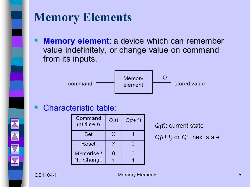 CS1104-11 Memory Elements6  Memory element with clock.