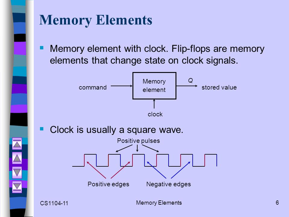 CS1104-11 Edge-Triggered Flip-flops17 Edge-Triggered Flip-flops  Flip-flops: synchronous bistable devices  Output changes state at a specified point on a triggering input called the clock.