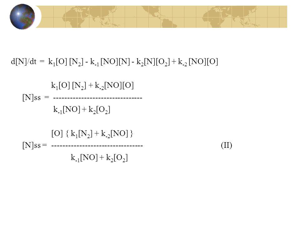 d[N]/dt = k 1 [O] [N 2 ] - k -1 [NO][N] - k 2 [N][O 2 ] + k -2 [NO][O] k 1 [O] [N 2 ] + k -2 [NO][O] [N]ss = -------------------------------- k -1 [NO] + k 2 [O 2 ] [O] { k 1 [N 2 ] + k -2 [NO] } [N]ss = ---------------------------------(II) k -1 [NO] + k 2 [O 2 ]
