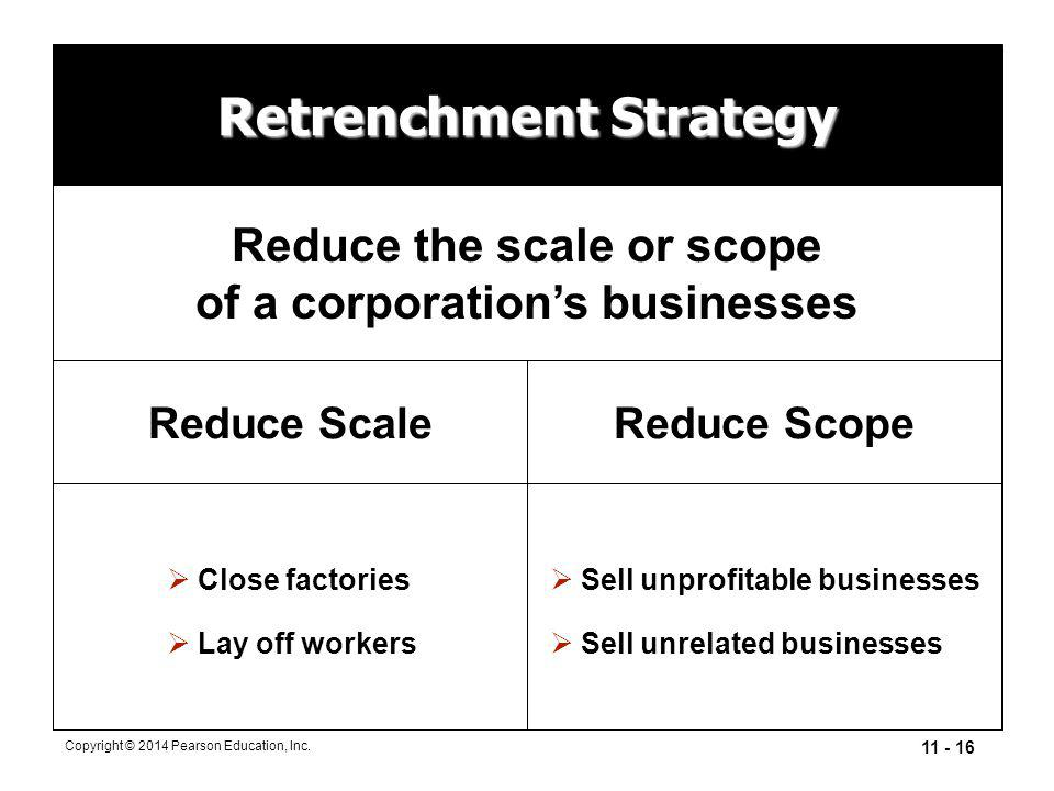 11 - 16 Copyright © 2014 Pearson Education, Inc. Retrenchment Strategy Reduce the scale or scope of a corporation's businesses Reduce ScaleReduce Scop