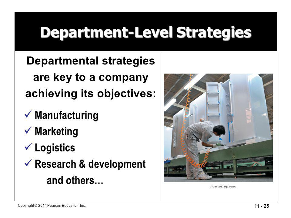 11 - 25 Copyright © 2014 Pearson Education, Inc. Department-Level Strategies Departmental strategies are key to a company achieving its objectives: Ma