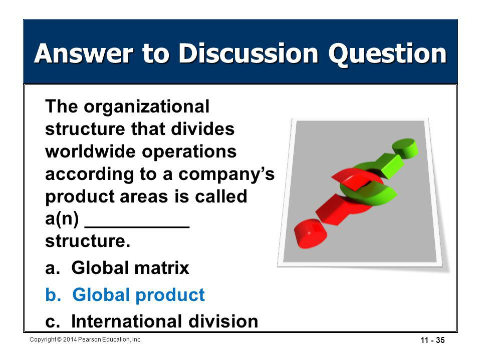 11 - 35 Copyright © 2014 Pearson Education, Inc. Answer to Discussion Question The organizational structure that divides worldwide operations accordin