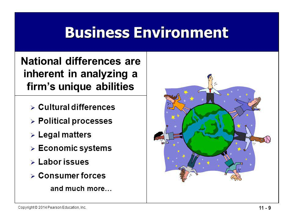 11 - 9 Copyright © 2014 Pearson Education, Inc. Business Environment National differences are inherent in analyzing a firm's unique abilities  Cultur