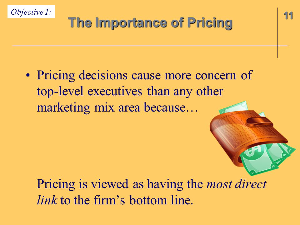 Pricing decisions cause more concern of top-level executives than any other marketing mix area because… Pricing is viewed as having the most direct link to the firm's bottom line.
