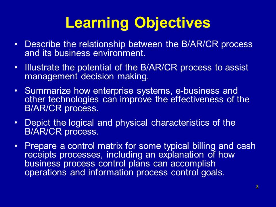 Learning Objectives Describe the relationship between the B/AR/CR process and its business environment. Illustrate the potential of the B/AR/CR proces