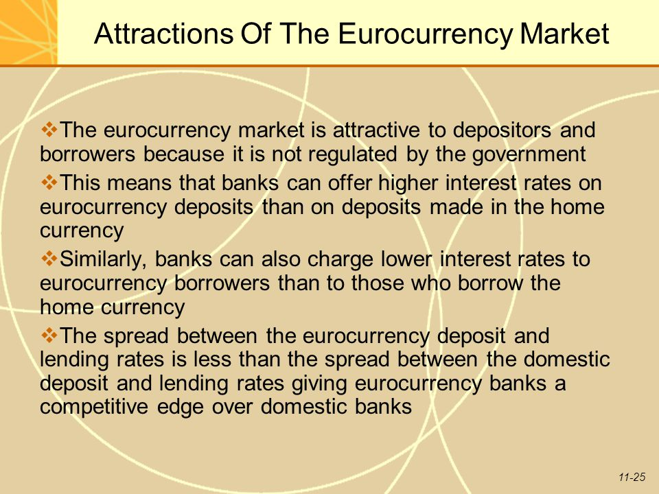 11-25 Attractions Of The Eurocurrency Market  The eurocurrency market is attractive to depositors and borrowers because it is not regulated by the go