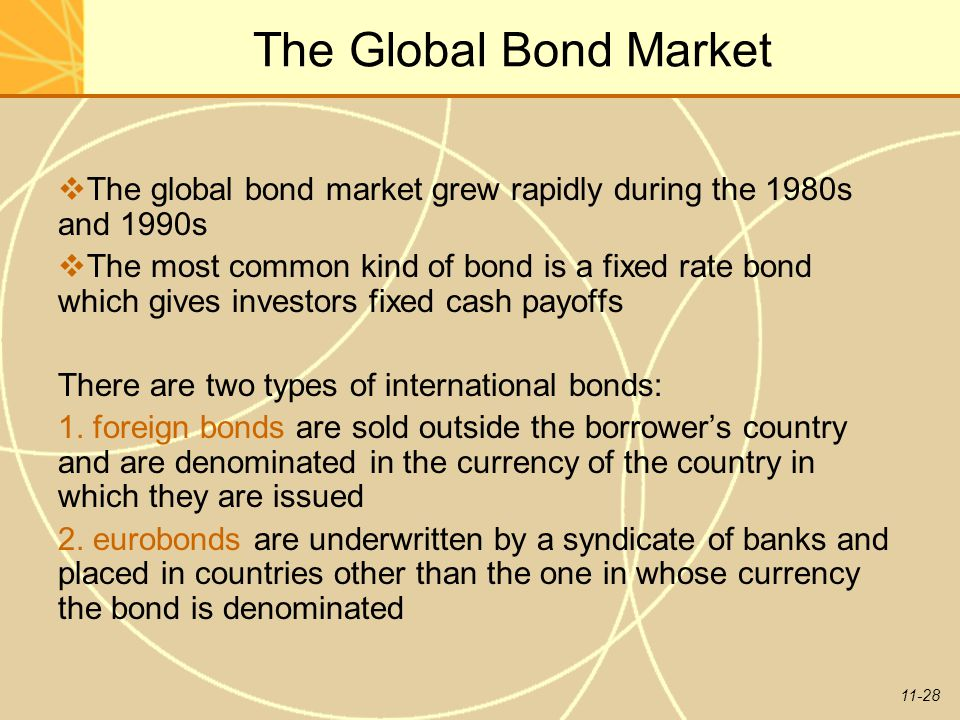 11-28 The Global Bond Market  The global bond market grew rapidly during the 1980s and 1990s  The most common kind of bond is a fixed rate bond whic