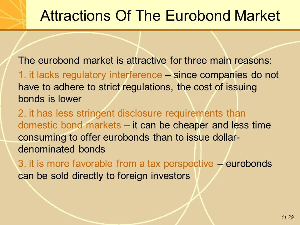 11-29 Attractions Of The Eurobond Market The eurobond market is attractive for three main reasons: 1. it lacks regulatory interference – since compani