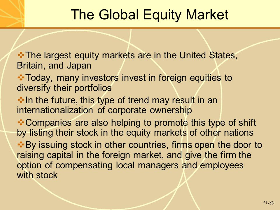 11-30 The Global Equity Market  The largest equity markets are in the United States, Britain, and Japan  Today, many investors invest in foreign equ