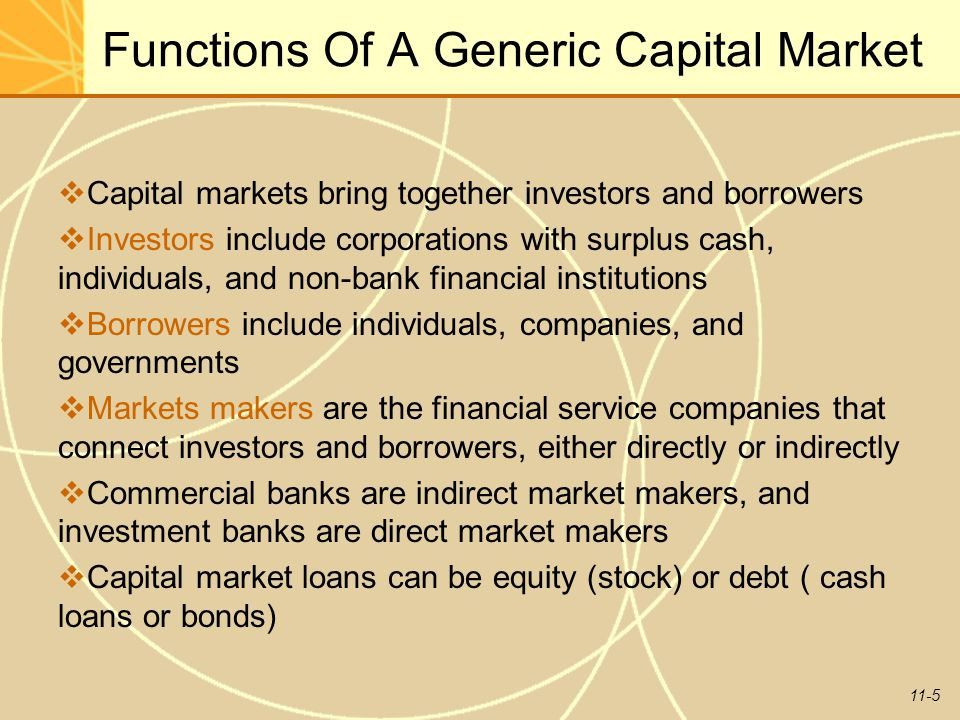 11-5 Functions Of A Generic Capital Market  Capital markets bring together investors and borrowers  Investors include corporations with surplus cash