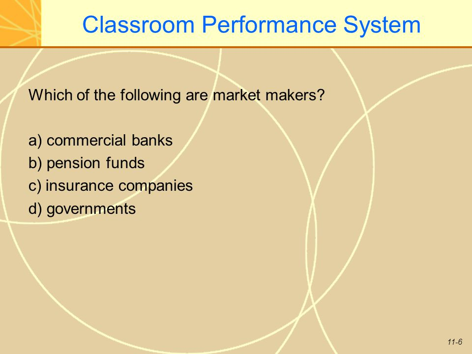 11-6 Classroom Performance System Which of the following are market makers? a) commercial banks b) pension funds c) insurance companies d) governments