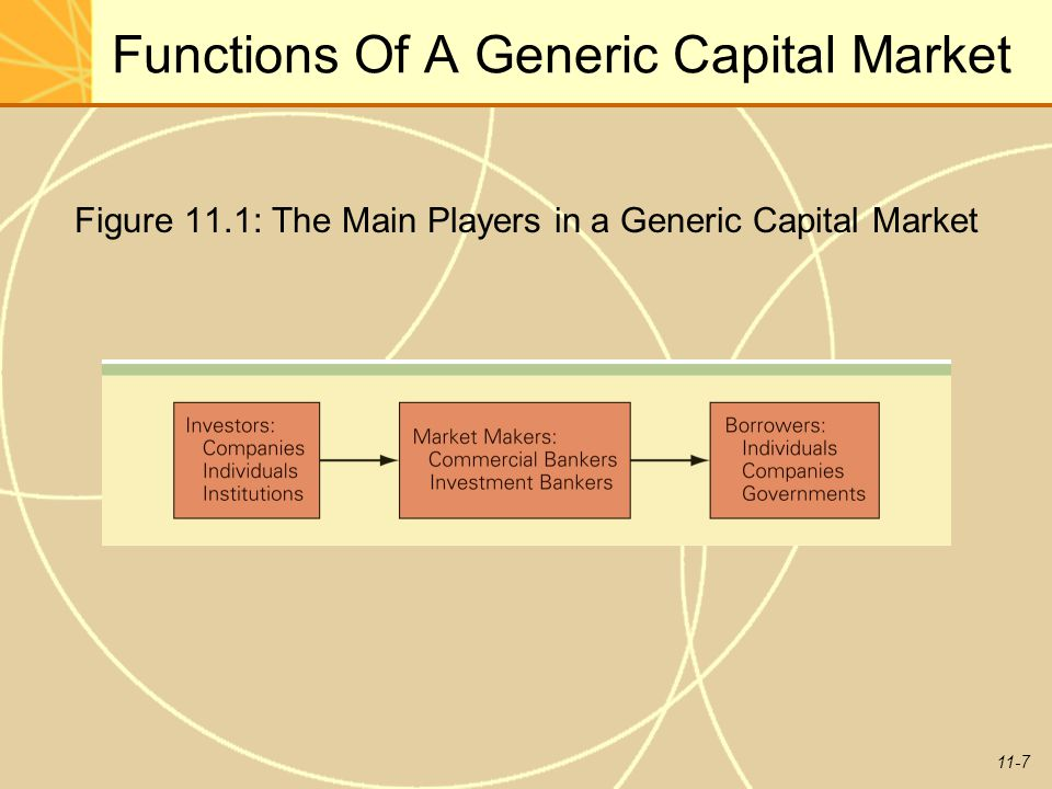 11-7 Functions Of A Generic Capital Market Figure 11.1: The Main Players in a Generic Capital Market