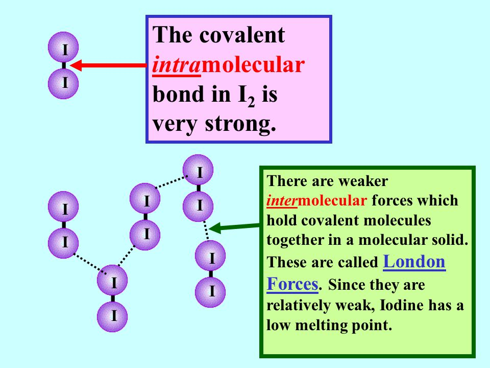 I I The covalent intramolecular bond in I 2 is very strong. I I I I I I I I I I There are weaker intermolecular forces which hold covalent molecules t